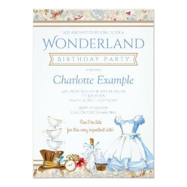 Small Alice In Wonderland Birthday Party Invitation Front View