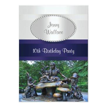 alice in wonderland white bg blue ribbon birthday invitation