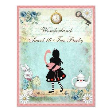 alice, pink flamingo & cheshire cat sweet 16 invitation