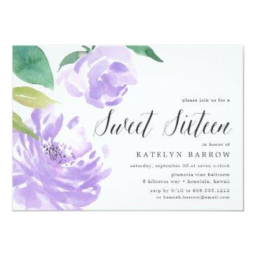 Small Amethyst Peony | Sweet Sixteen Invitation Front View