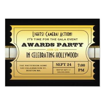 annual movie awards party golden ticket invitation