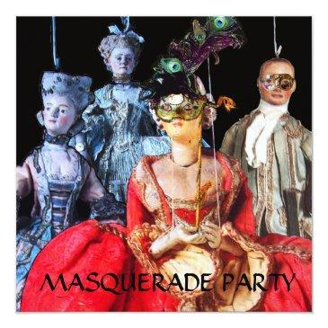 Small Antique Italian Puppets Masquerade Costume Party Invitation Front View