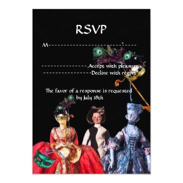 Small Antique Puppets Masquerade Costume Party Rsvp Invitation Back View