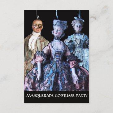 antique puppets masquerade costume party rsvp invitation