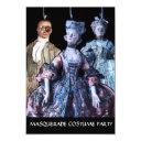 antique puppets masquerade costume party rsvp invitations