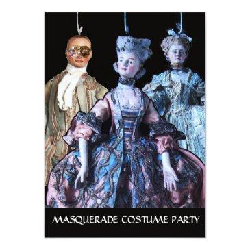 Small Antique Puppets Masquerade Costume Party Rsvp Invitation Front View