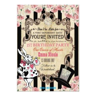 Small Any Age - Alice In Wonderland Birthday Invitation Front View