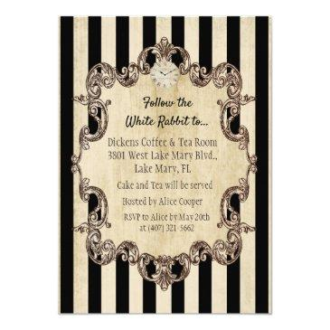 Small Any Age - Alice In Wonderland Birthday Invitation Back View