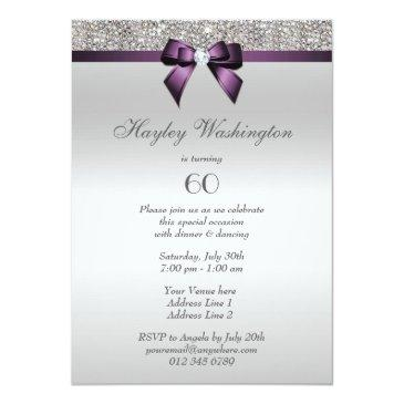 Small Any Age Birthday Party Silver Sequins Violet Bow Invitations Back View