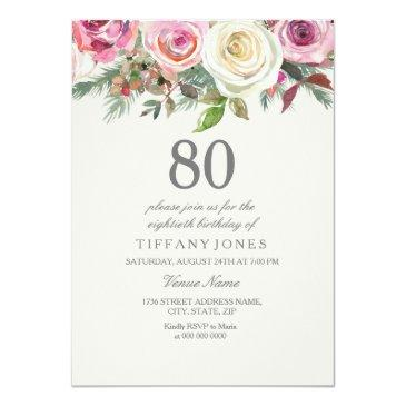 Small Any Age White Rose Floral 80th Birthday Invite Front View
