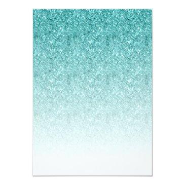 Small Aqua Blue Glitter Sweet 16 Fancy Script Invitation Back View