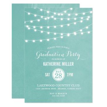 aqua string lights graduation party
