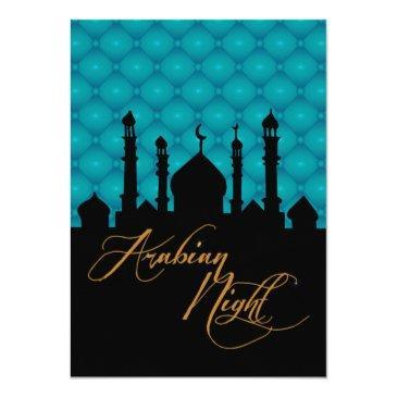 Small Arabian Nights, Teal Birthday Invitation Back View