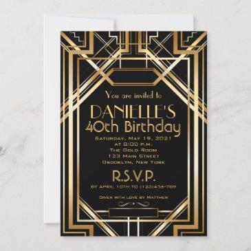 art deco birthday invitation roaring 20s