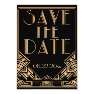 Small Art Deco Gatsby Style Wedding Save The Date Invitation Front View