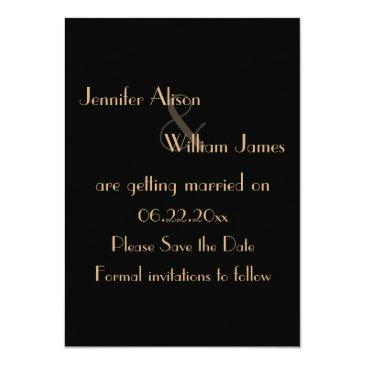 Small Art Deco Gatsby Style Wedding Save The Date Invitation Back View