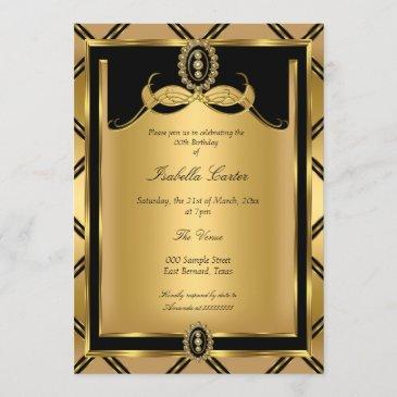 art deco golden black jewel birthday party invitation