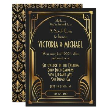 art deco nouveau speak easy party gold & black invitation