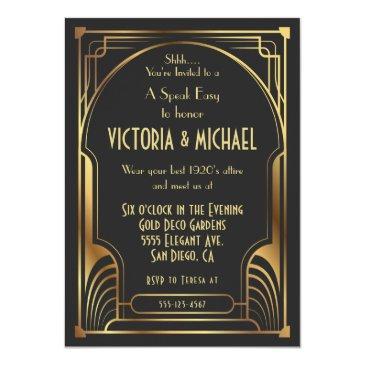 Small Art Deco Nouveau Speak Easy Party Gold & Black Invitation Front View