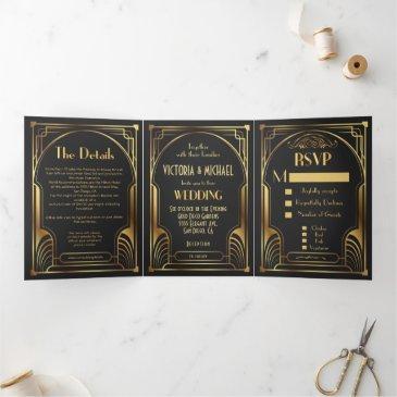 art deco nouveau wedding tri-fold invitation
