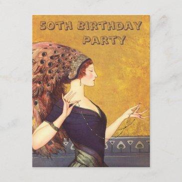 art deco peacock flapper 50th birthday party invitation