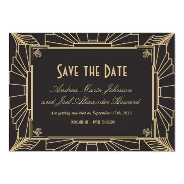 Small Art Deco Save The Date By Origami Prints Invitations Front View