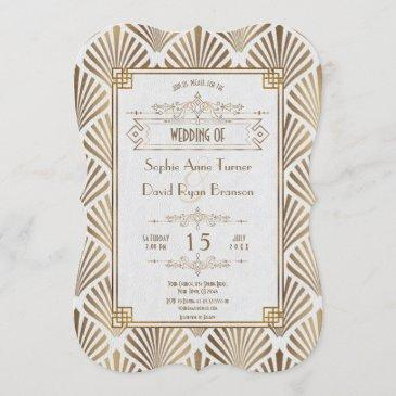 art deco white gatsby 1920s style wedding invitation