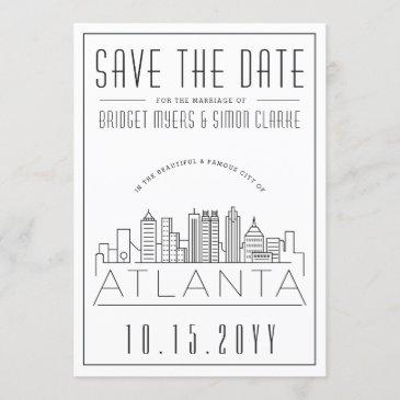 atlanta wedding   stylized skyline save the date invitation