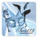 baby blue sweet 16 masquerade party invitation
