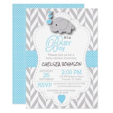 baby blue, white gray elephant 🐘 baby shower invitations