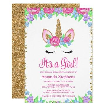 baby girl floral unicorn gold glitter baby shower invitation