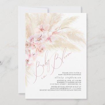 baby in bloom pampas grass baby girl shower invitation