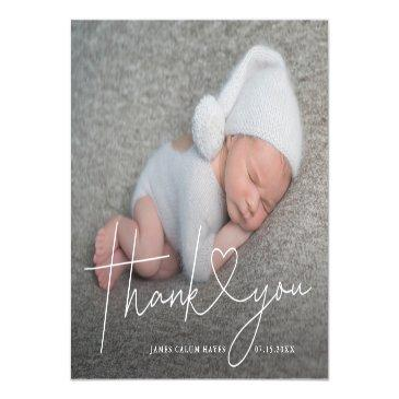 Small Baby Photo Thank You Script Heart Birth Announcement Postinvitations Front View