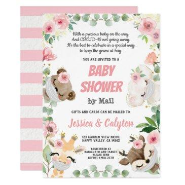 baby shower by mail woodland animal pink rose invitation