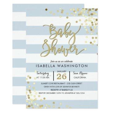 baby shower | elegant gold confetti & blue stripes