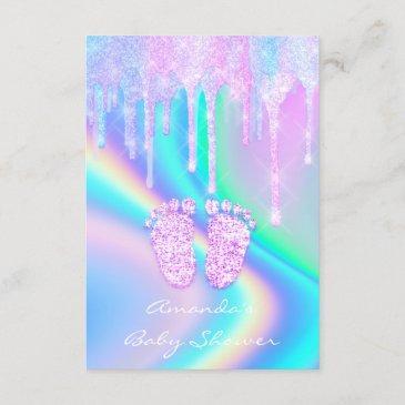baby shower girly feet glitter drips unicorn holog invitation