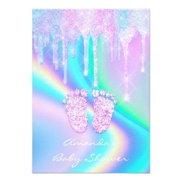 Small Baby Shower Girly Feet Glitter Drips Unicorn Holog Invitation Back View