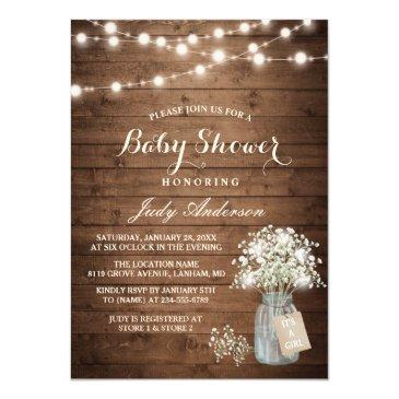 Small Baby Shower Rustic Baby's Breath Floral Mason Jar Invitations Front View