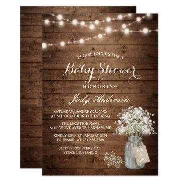 baby shower rustic baby's breath floral mason jar invitations