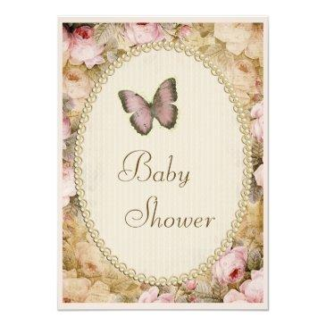 baby shower vintage pearls lace roses butterfly invitation