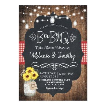 Small Babyq Baby Bbq Country Baby Shower Invitations Front View