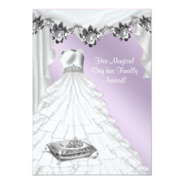 ball gown lavender purple rose quinceanera invitation