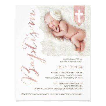 baptism script shiny blush photo invitation