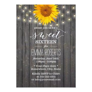 Small Barn Wood Sunflower & String Lights Sweet 16 Invitations Front View