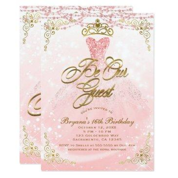 be our guest princess pink & gold sweet 16 party invitation