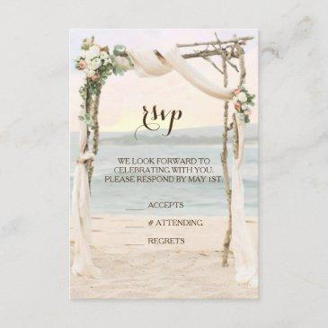 beach arbor sunset wedding invitation rsvp invitations