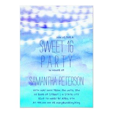 Small Beach Blue Watercolor String Lights Sweet 16 Invitations Front View