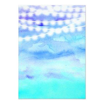 Small Beach Blue Watercolor String Lights Sweet 16 Invitations Back View