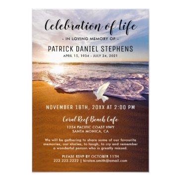 beach celebration of life funeral invitation