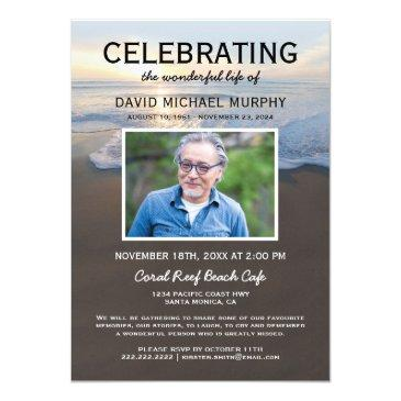beach funeral | celebration of life photo invitation